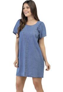 Vestido Manga Curta Azul