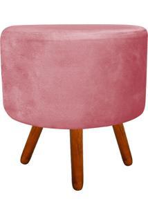 Puff Banqueta Decorativa Dora Redondo Suede Rose - D'Rossi