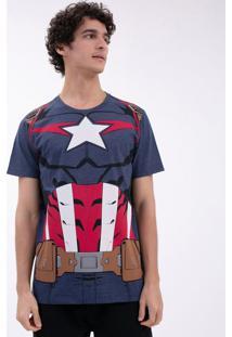 Camiseta Com Estampa Capitão América