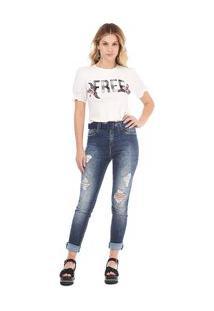 Calça Zinco Skinny Regular Cós Intermediário Barra Desmanchada Jeans