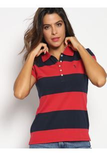 Polo Slim Fit Listrada- Vermelha & Azul Marinhoaleatory