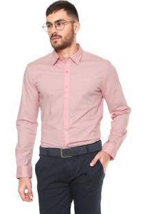 Camisa Ellus 2Nd Floor Slim Fit Básica Rosa