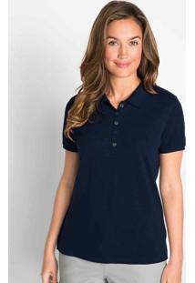 Camisa Polo Com Fenda E Peitilho Azul Marinho