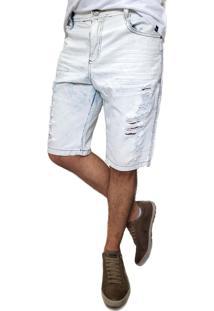 Bermuda Jeans Ballad Destroyed Azul Branco