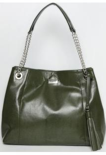 Bolsa Em Couro Texturizada & Com Recortes - Verde Escurogriffazzi