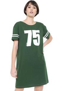 Vestido Triton Curto Estampado Verde