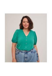 Blusa Malha Crepe De Mangas Bufantes Curve E Plus Size Verde