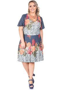 Vestido Lovely Marinho Plus Size