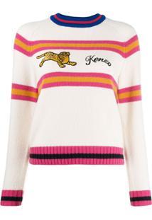 Kenzo Suéter Com Bordado De Listras - Branco