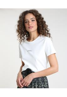 "Blusa Feminina Ampla ""Good Things"" Manga Curta Decote Redondo Off White"