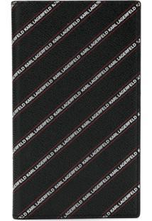 Karl Lagerfeld Carteira Listrada Com Logo - Preto