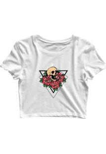 Blusa Feminina Cropped Tshirt Goup Girls Triângulo Caveira E Flores - Feminino