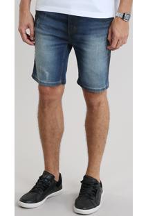 Bermuda Jeans Masculina Skinny Com Bolsos Azul Escuro
