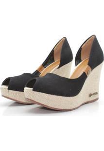 Scarpin Barth Shoes Noite Lona Feminino - Feminino-Preto