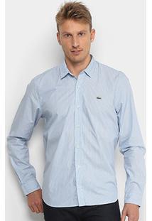 Camisa Lacoste Manga Longa Listrada Masculina - Masculino-Azul+Branco