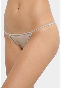Calcinha Tanga Calvin Klein String - Feminino-Bege+Branco