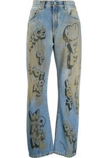 Off-White Calça Jeans Reta Com Estampa De Grafite - Azul