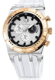 Relógio Jean Vernier Caixa Aço Pulseira Silicone Feminino - Feminino-Branco