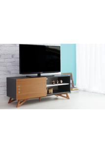 Rack Tv Preto Moderno Vintage Retrô Com Porta De Correr Freijó Freddie - 120X43,6X48,5 Cm