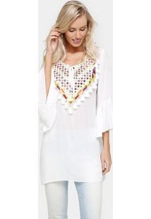Blusa Facinelli Ampla Bordado - Feminino-Branco