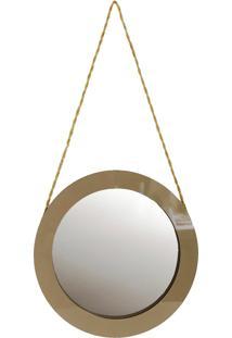 Espelho Redondo 50 Cm Crie Casa Bege Laca