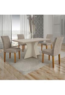 Conjunto De Mesa De Jantar Creta V Com 4 Cadeiras Olímpia Suede Off White E Marrom