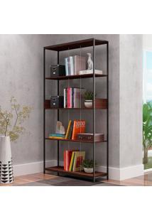 Estante Para Livros Brooklyn Be 65 Castanho/Preto - Brv Móveis