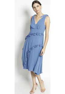Vestido Mídi Com Franzidos & Nó - Azul Claro- Ennaenna