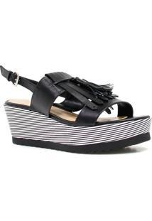 Sandália Zariff Shoes Plataforma Barbicacho - Feminino-Preto