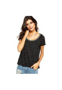 Camiseta Shoulder Estampa Preta