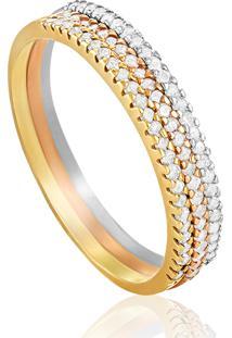 Anel Em Ouro18K Com Diamante Ice-Meia Aliança 15