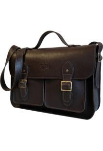 Bolsa Line Store Leather Satchel Pockets Grande Couro Marrom Escuro - Kanui