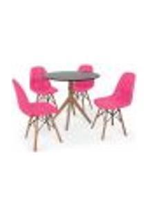 Conjunto Mesa De Jantar Maitê 80Cm Preta Com 4 Cadeiras Charles Eames Botonê - Rosa