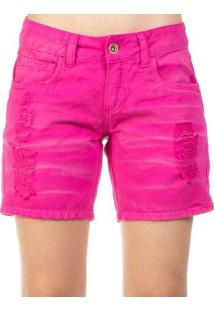 Bermuda Sarja Destroyed Used Color Colcci Feminino - Feminino-Rosa