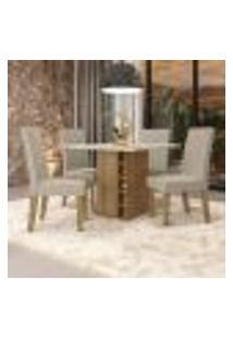 Conjunto De Mesa De Jantar Com Tampo De Vidro E 4 Cadeiras Chester Ii Suede Geométrico Bege E Freijó