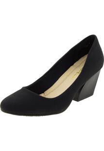 Sapato Feminino Salto Baixo Preto Facinelli - 62204