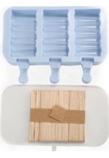 Forma De Picolé Em Silicone Zig Zag 3 Cavidades E 50 Palitos Azul