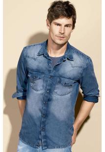 Camisa Masculina Jeans Manga Longa Slim Com Lavação