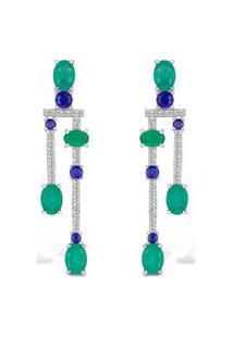 Brinco Life Topázios Ágatas E Lápis Lazuli