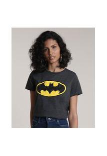 Blusa Feminina Batman Manga Curta Decote Redondo Cinza Mescla Escuro