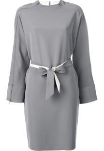 Emporio Armani Vestido Com Cinto E Zíper - Cinza