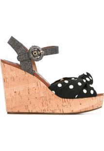 Dolce & Gabbana Sandália Com Poás - Preto