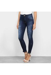 Calça Jeans Biotipo Soft Skinny Barra Desfiada Cintura Média Feminina - Feminino