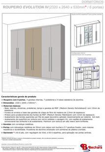 Guarda Roupa Casal 6 Portas 4 Gavetas Evolution Móveis Bechara Madeira Rústica/3D