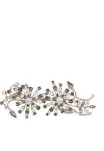 Alberta Ferretti Broche Floral Com Cristais - Metallic