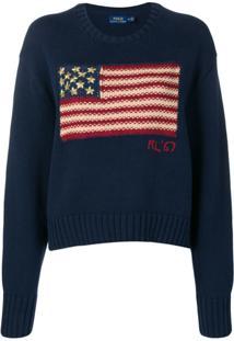 Polo Ralph Lauren Suéter Com Estampa De Bandeira - Azul 4ef1b63fa4c