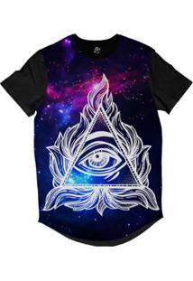 Camiseta Bsc Longline Olho Illuminate Galáxia Sublimada Masculina - Masculino-Roxo