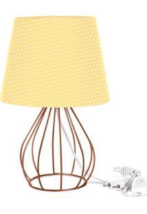 Abajur Cebola Dome Amarelo/Bolinha Com Aramado Cobre