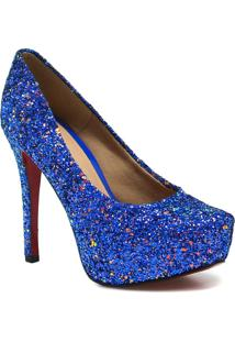 Sapato Zariff Shoes Noivas Pump Glitter - Feminino-Azul