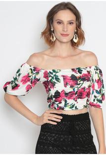 Blusa Ciganinha Com Franzidos- Off White & Pink- Le Le Fix
